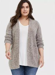 Grey & Colorful Marled Woolen Fuzzy Knit Cardigan