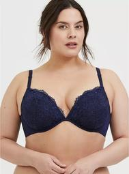 Navy Lace 360° Back Smoothing™ Lightly Lined Plunge Bra