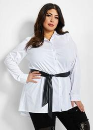 Faux Leather Belt Button-Up Tunic
