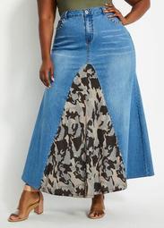 Diamond Camo Inset Denim Skirt