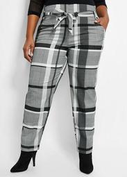 Belted Plaid Straight-Leg Pant