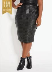 Faux Leather Front Skirt