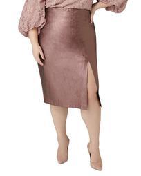Metallic Faux-Leather Pencil Skirt