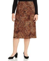 Lyndon Bias-Cut Leopard Print Skirt