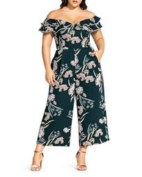 Fresh Fields Off-the-Shoulder Cropped Jumpsuit