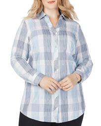 Faith Crinkle-Texture Plaid Shirt