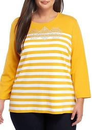 Plus Size 3/4 Sleeve Color Block Tee
