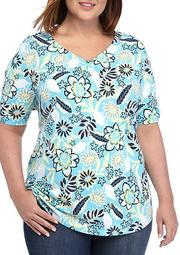 Plus Size Short Sleeve Cinched Neck Printed Top