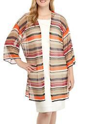 Plus Size Eastern Promise Multi Stripe Duster Sweater