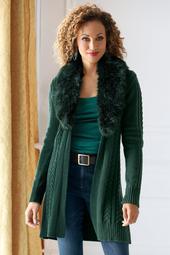 Faux-Fur Collar Cable Cardigan