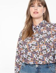 Printed Flare Sleeve Blouse
