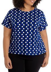 Plus Size Short Sleeve Polka Dot Blouse