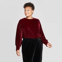 Women's Plus Size Crewneck Velour Pullover - Ava & Viv™