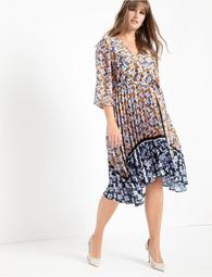 Mixed Print Dress with Pleated Skirt