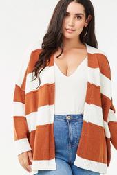Plus Size Striped Print Cardigan