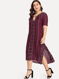 Plus Geo Print Split Side Dress