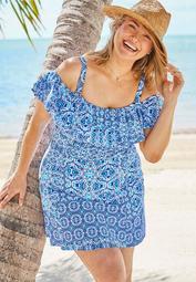 Off-The-Shoulder Ruffled Swim Dress