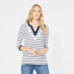 Embroidered Trim Stripe Knit Top