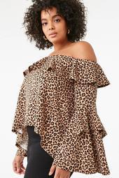 Plus Size Flounce Leopard Top