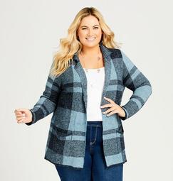 Plaid Blazer-Style Sweater