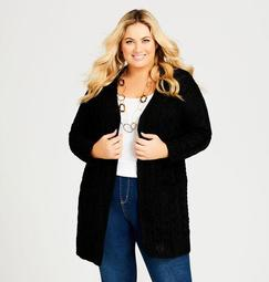 Open Front Long Cable Cardigan
