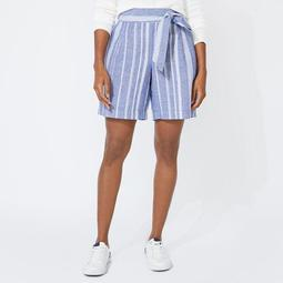 "8"" BELTED HIGH WAIST STRIPE SHORTS"