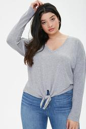 Plus Size Knotted-Hem Top