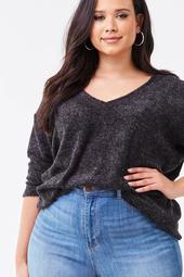 Plus Size Plunging Twist-Back Top