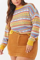Plus Size Fair Isle Print Sweater