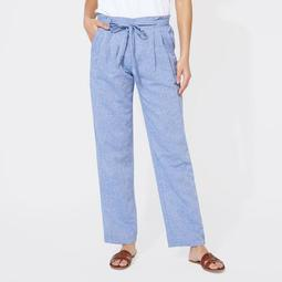 LINEN BLEND HIGH WAIST PANTS
