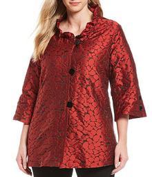 Plus Size Metallic Jacquard Animal Print Ruffle Neck Jacket