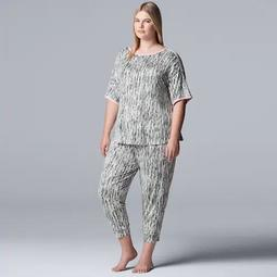 Women's Simply Vera Vera Wang Plus Short Sleeve Top & Cropped Jogger Pajama Set