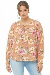 Plus Size Floral & Geo Chiffon Cutout Top