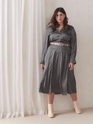 Crepe Fit & Flare Midi Shirt Dress - Addition Elle