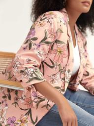 Floral Blazer with Self-Ties at Sleeves - L&L