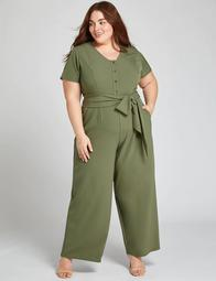 Button-Front Jumpsuit