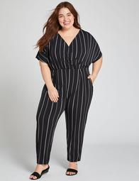 Striped Crossover Jumpsuit
