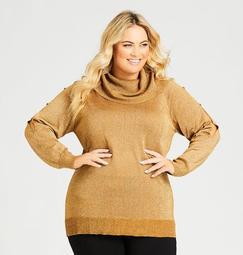 Cowl Neck Cutout Sleeve Metallic Sweater