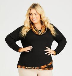 Animal Print Tunic with Removable Scarf