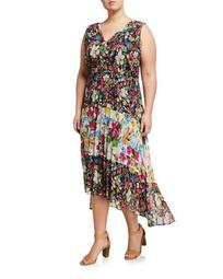 Plus Size Floral Pleated Fit-&-Flare Dress
