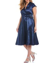 Plus Size Stretch Taffeta V-Neck Pleated Midi Dress