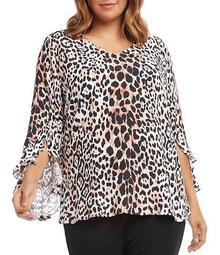 Plus Size Ruffle Sleeve Leopard Print Top