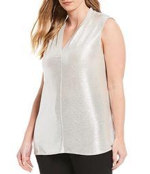 Plus Size Metallic Knit V-Neck Sleeveless Tank