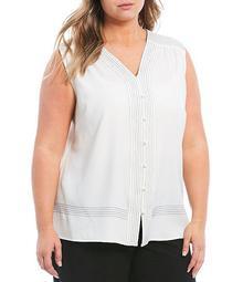 Plus Size V-Neck Button Front Stripe Trim Sleeveless Blouse
