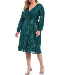 Plus Size Stretch Allover Sequin Faux Wrap Dress