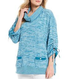 Plus Size Brushed Heather Knit Burnout Cowl Neck Tunic