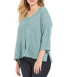 Plus Size V-Neck 3/4 Sleeve Cut-Out Back Sweater