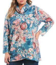 Plus Size Floral Print Cowl Neck Long Sleeve Faux-Wrap Knit Top