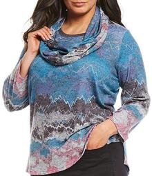 Plus Size Abstract Heather Print With Scarf Knit Top
