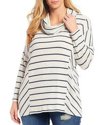 Plus Size Long Sleeve Cowl Neck Striped Hi-Low Pullover